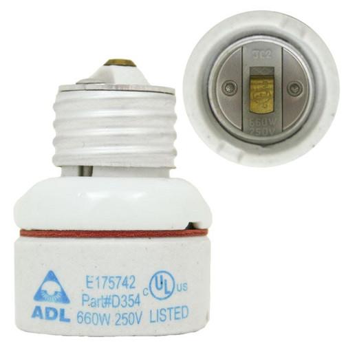 ADL D354 Medium E26 Base Porcelain Lamp Socket Extension