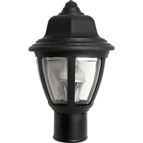 11W LED Post Top Plastic Black Coach Lantern Pole Mount Fixture Clear Lens 3000K