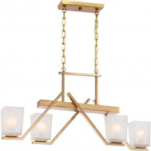 Nuvo Lighting 60-5083 Timone Vintage Brass 4 Light Trestle With Etched Sanstone Glass