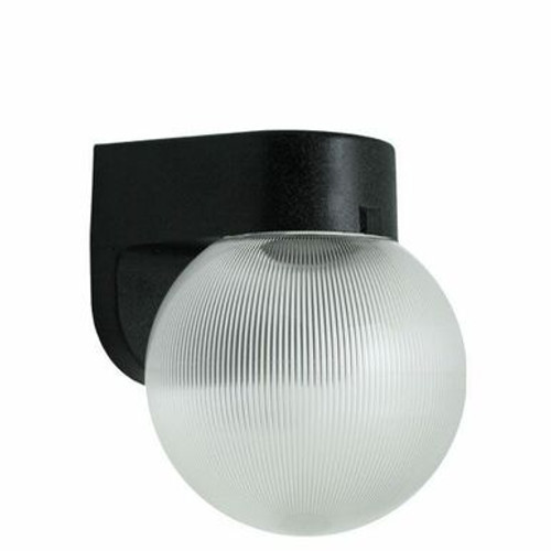 Clear Prismatic Globe Black Plastic Outdoor Wall Light Sconce