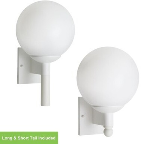 White Globe Outdoor Wall Sconce Light Fixture with Photocell