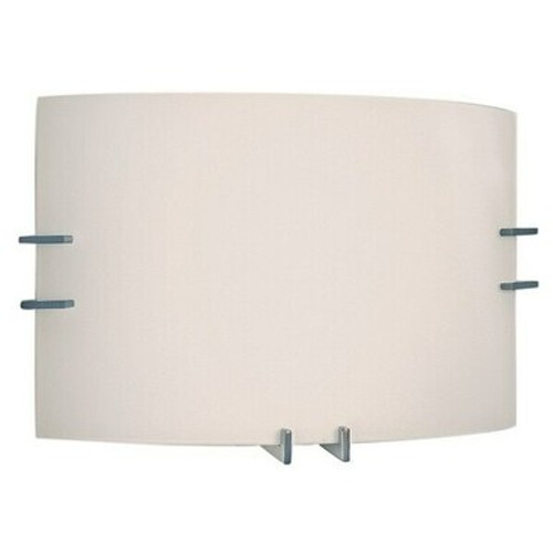 LED Frost Curve Glass Indoor Wall Sconce with Emergency Battery Back Up