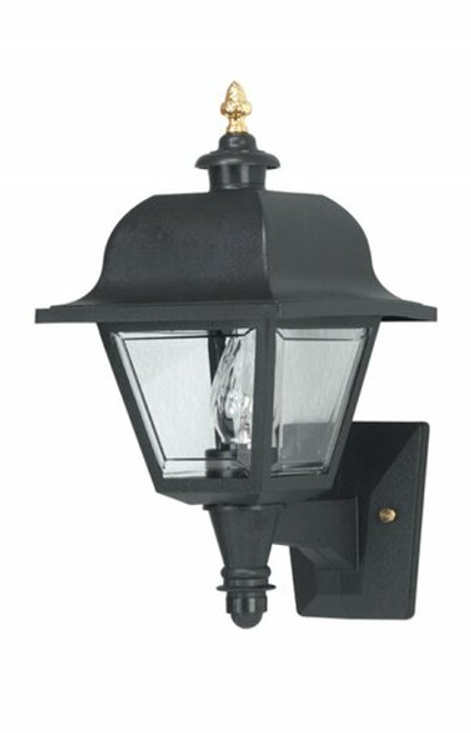 Wave 408 Black Outdoor Plastic Coach Light with Clear Panels