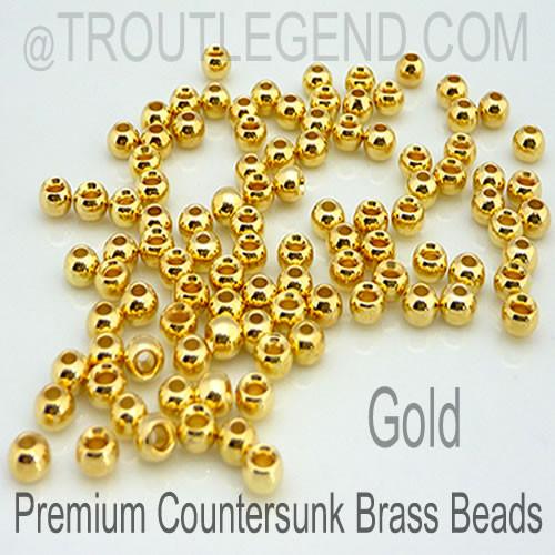 Gold Brass CounterSunk TroutLegend Beads (25packs)