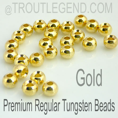 Gold Tungsten RegularBore/Cyclops Beads (25packs)