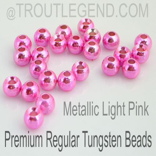 Metallic Light Pink Tungsten RegularBore/Cyclops Beads (25packs)
