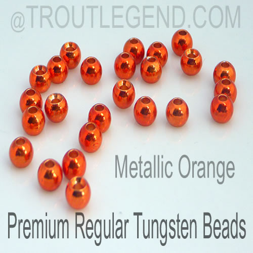 Metallic Orange Tungsten RegularBore/Cyclops Beads (25packs)