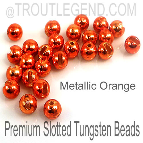 Metallic Orange Tungsten Slotted TroutLegend Beads (25packs)