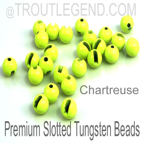 Chartreuse Tungsten Slotted TroutLegend Beads (25packs)