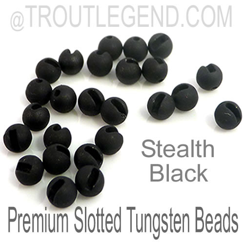 Stealth Black Tungsten Slotted TroutLegend Beads (25packs)