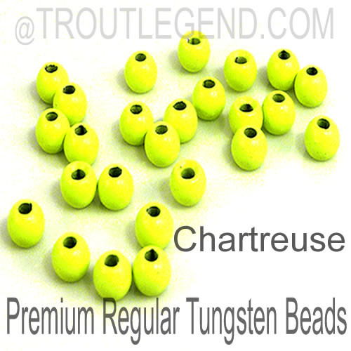 Chartreuse Tungsten RegularBore/Cyclops Beads (25packs)