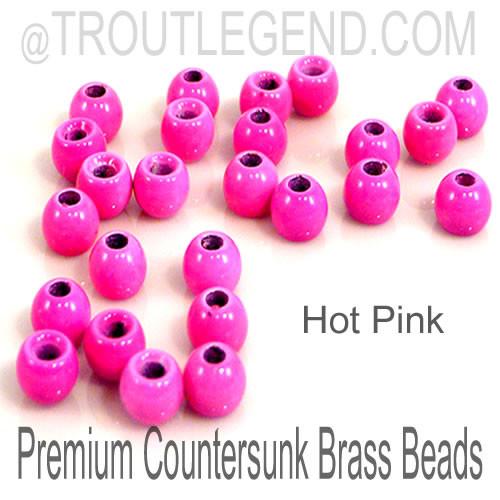 Hot Pink Brass CounterSunk TroutLegend Beads (25packs)
