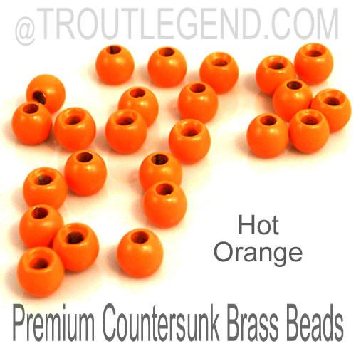 Hot Orange Brass CounterSunk TroutLegend Beads (25packs)