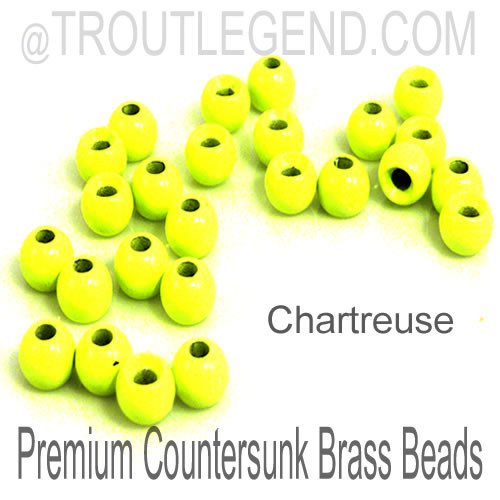 Chartreuse Brass CounterSunk TroutLegend Beads (25packs)
