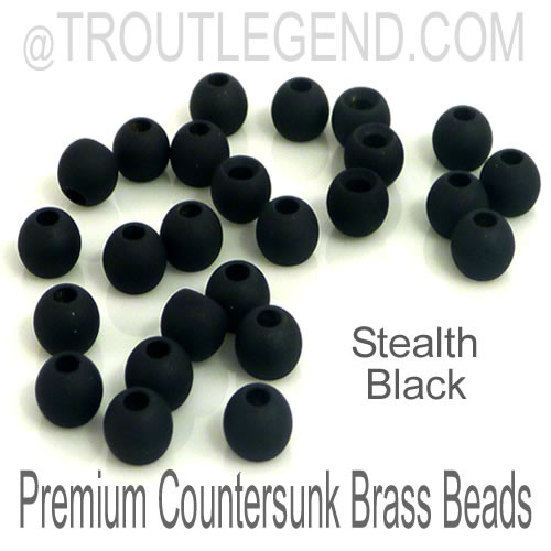 Stealth Black Brass CounterSunk TroutLegend Beads (25packs)