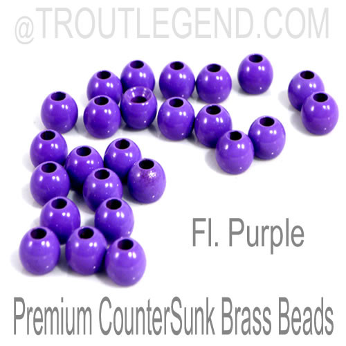 Fl. Purple Brass CounterSunk TroutLegend Beads (25packs)