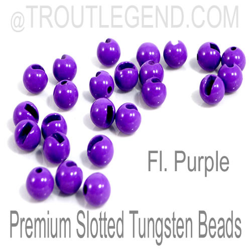 Fl. Purple Tungsten Slotted TroutLegend Beads (25packs)