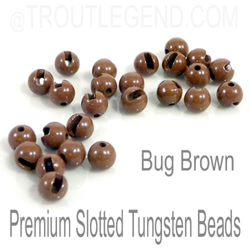 Bug Brown Tungsten Slotted TroutLegend Beads (25packs)