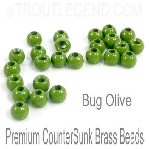 Bug Olive Brass CounterSunk TroutLegend Beads (25packs)