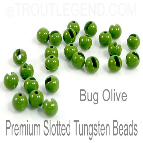 Bug Olive Tungsten Slotted TroutLegend Beads (25packs)