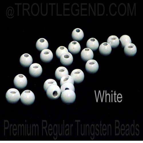 White Tungsten RegularBore/Cyclops Beads (25packs)
