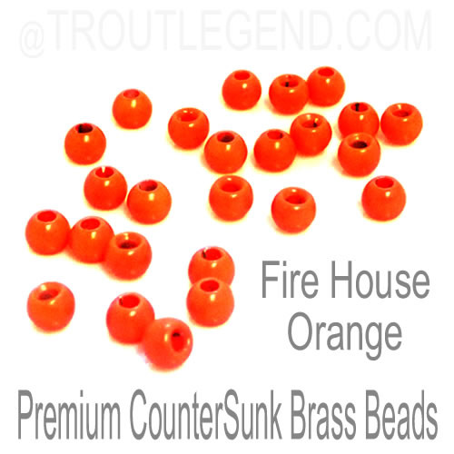 Fire House Orange Brass CounterSunk TroutLegend Beads (25packs)
