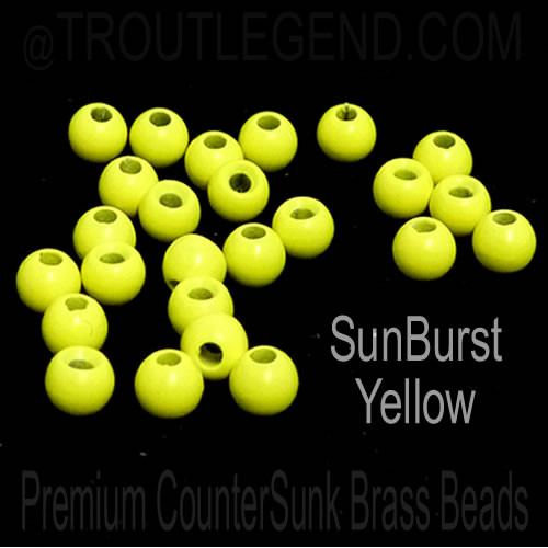 Sunburst Yellow Brass CounterSunk TroutLegend Beads (25packs)