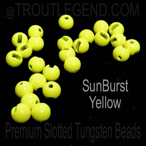 SunBurst Yellow Tungsten Slotted TroutLegend Beads (25packs)