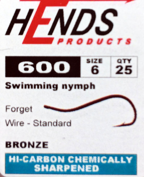 Hends 600 Swimming Nymph Hook Barbed (25packs)