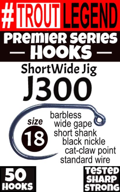 J300 ShortWide Jig Hook - Premier Series (50Packs)