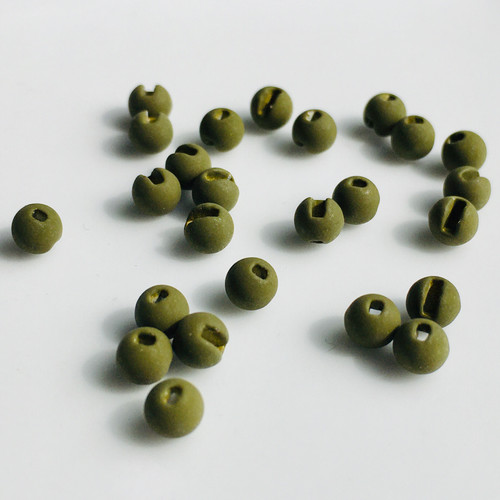 Stealth Dark Olive Tungsten Slotted Beads (25packs)