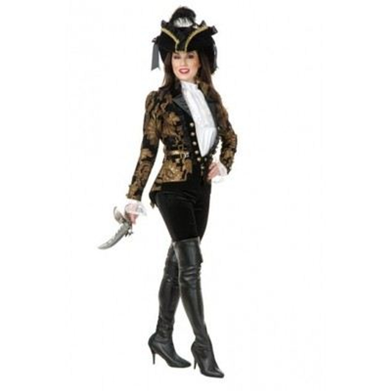 BLACK PIRATE BOOT TOPS thigh high faux suede adult womens halloween costume  S/M