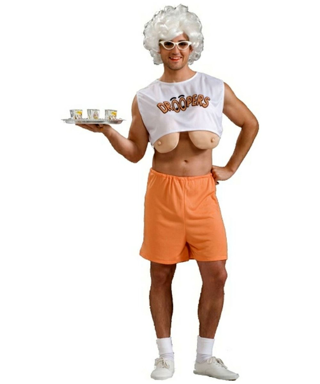 HOOTERS DROOPERS Adult Long Boobs Humor Mens Waitress
