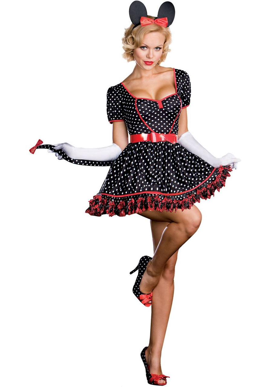 Minnie Mouse Mickey Disney Womens Sexy Adult Halloween Costume S
