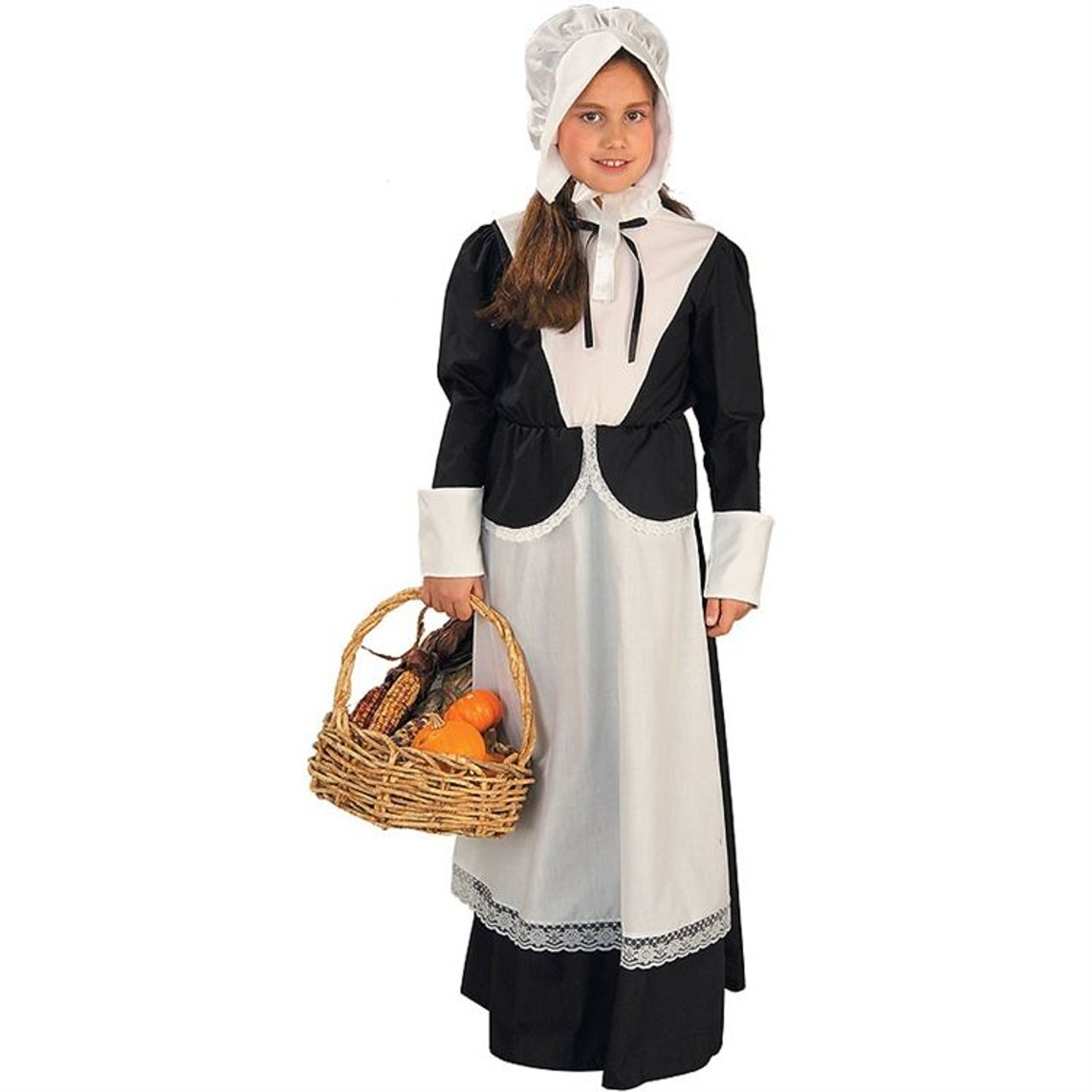 Pilgrim Lady Set Apron Puritan Womens Colonial Kit Adult Thanksgiving Costume