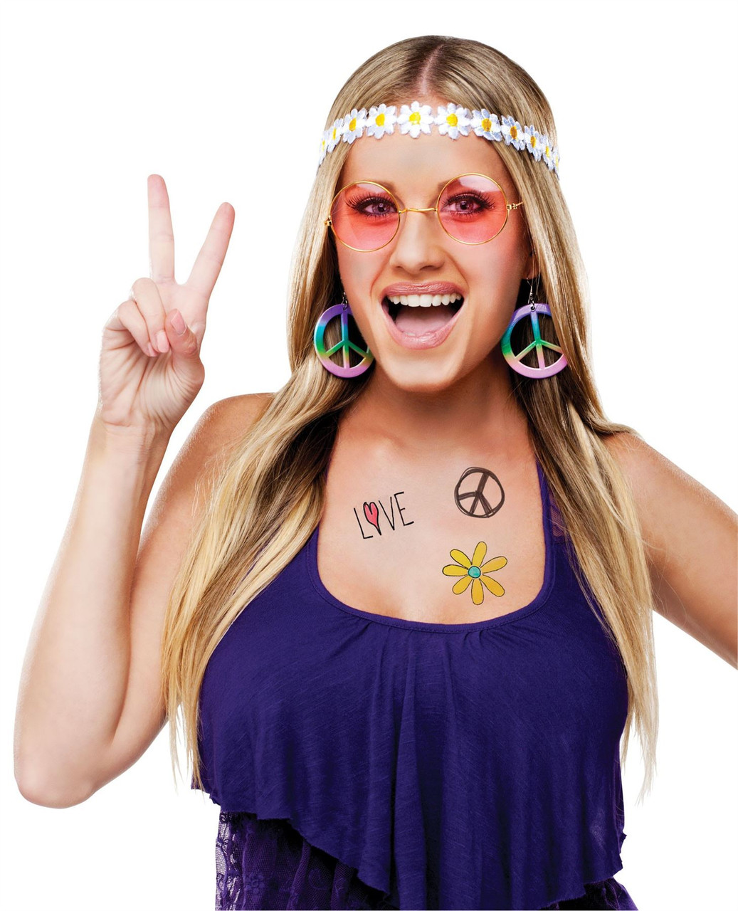 Hippie Headband Glasses Peace Sign Earrings Kit