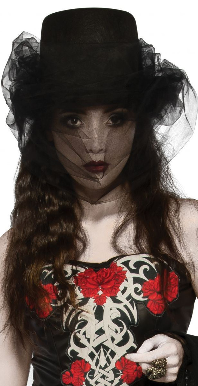 Heart of Darkness Top Hat with Veil Witch Goth Steampunk adult ... e1a1bbe1c09