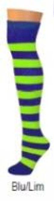 blue & lime striped  tube ADULT SOCKS costume