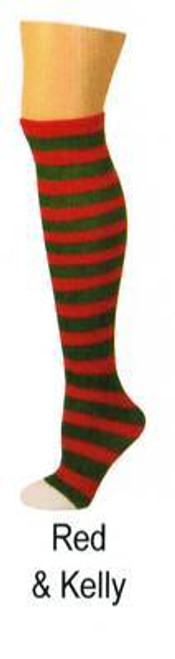 red green elf STRIPES christmas KIDS SOCKS costume