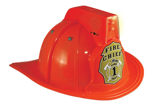 FIRE HELMET hat red firefighter lights kids boys toy dress up costume Aeromax