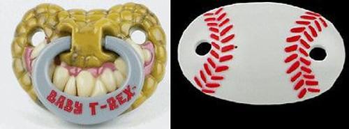 SLUGGER & T-REX PACIFIER sports baseball dinosuar baby boys shower gift infant