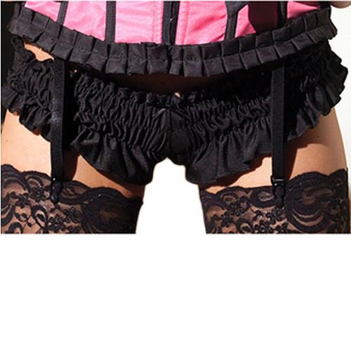 black MINI RUFFLED BOOTY SHORTS womens sexy adult halloween costume Large