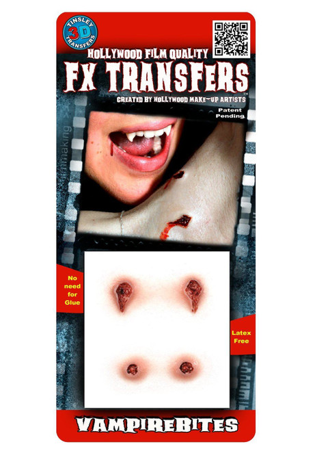 3D Vampire Bites Tinsley Transfers Makeup FX Temporary Tattoo