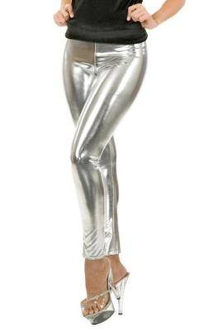 silver LEGGINGS liquid metal adult womens sexy shiny halloween costume LARGE