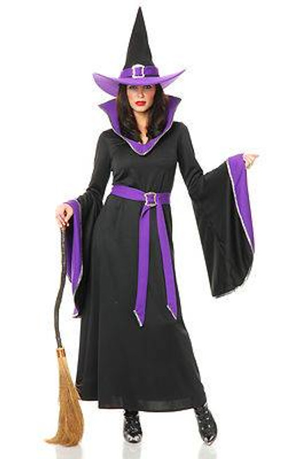 black & purple MIDNIGHT WITCH adult womens sexy halloween costume LARGE