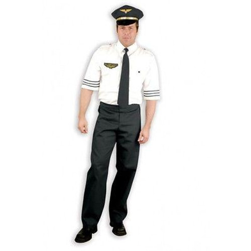 MILE HIGH CAPTAIN pilot flight airplane funny mens halloween costume adult LARGE