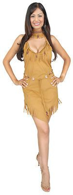 POCAHONTAS INDIAN tan fringe dress native american princess halloween costume S