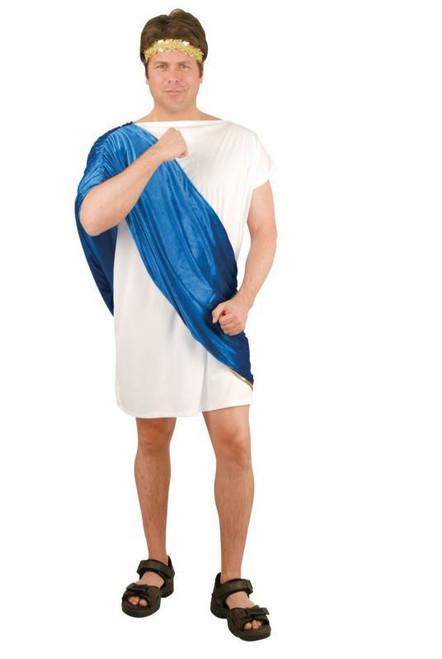 BLUE TOGA MAN frat party roman Caesar greek mens halloween costume XL