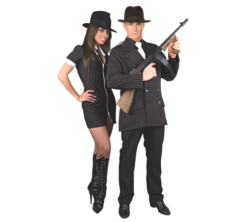GANGSTER SUIT formal mob boss black 20s 30s adult mens halloween costume plus 3X