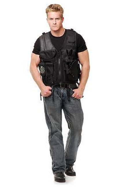 black SWAT TEAM VEST adult mens commando halloween costume ONE SIZE